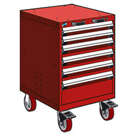 "Rousseau Metal 6 Drawer Heavy-Duty Mobile Modular Drawer Cabinet - 24""Wx27""Dx37-1/2""H Red"