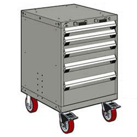 "Rousseau Metal 5 Drawer Heavy-Duty Mobile Modular Drawer Cabinet - 24""Wx27""Dx37-1/2""H Light Gray"