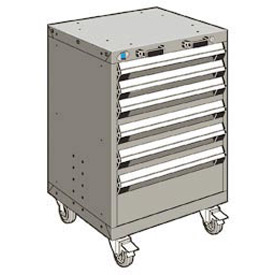 "Rousseau Metal 6 Drawer Heavy-Duty Mobile Modular Drawer Cabinet - 24""Wx27""Dx35-1/4""H Light Gray"