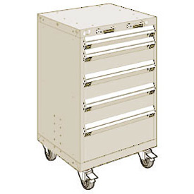 "Rousseau Metal 5 Drawer Heavy-Duty Mobile Modular Drawer Cabinet - 24""Wx27""Dx39-1/4""H Beige"