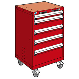 "Rousseau Metal 5 Drawer Heavy-Duty Mobile Modular Drawer Cabinet - 24""Wx27""Dx39-1/4""H Red"