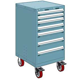 "Rousseau Metal 7 Drawer Heavy-Duty Mobile Modular Drawer Cabinet - 24""Wx27""Dx45-1/2""H Everest Blue"