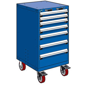 "Rousseau Metal 7 Drawer Heavy-Duty Mobile Modular Drawer Cabinet - 24""Wx27""Dx45-1/2""H Avalanche Blue"