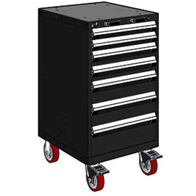 "Rousseau Metal 7 Drawer Heavy-Duty Mobile Modular Drawer Cabinet - 24""Wx27""Dx45-1/2""H Black"