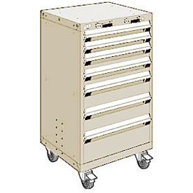"Rousseau Metal 7 Drawer Heavy-Duty Mobile Modular Drawer Cabinet - 24""Wx27""Dx43-1/4""H Beige"