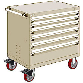 "Rousseau Metal 6 Drawer Heavy-Duty Mobile Modular Drawer Cabinet - 30""Wx21""Dx37-1/2""H Beige"