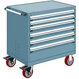 """Rousseau Metal 6 Drawer Heavy-Duty Mobile Modular Drawer Cabinet - 30""""Wx21""""Dx37-1/2""""H Everest Blue"""