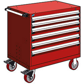 "Rousseau Metal 6 Drawer Heavy-Duty Mobile Modular Drawer Cabinet - 30""Wx21""Dx37-1/2""H Red"