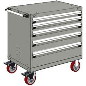 """Rousseau Metal 5 Drawer Heavy-Duty Mobile Modular Drawer Cabinet - 30""""Wx21""""Dx37-1/2""""H Light Gray"""