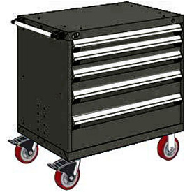 "Rousseau Metal 5 Drawer Heavy-Duty Mobile Modular Drawer Cabinet - 30""Wx21""Dx37-1/2""H Black"