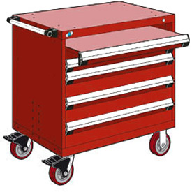 "Rousseau Metal 4 Drawer Heavy-Duty Mobile Modular Drawer Cabinet - 30""Wx21""Dx37-1/2""H Red"