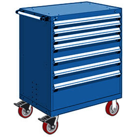 "Rousseau Metal 7 Drawer Heavy-Duty Mobile Modular Drawer Cabinet - 30""Wx21""Dx45-1/2""H Avalanche Blue"