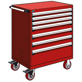 "Rousseau Metal 7 Drawer Heavy-Duty Mobile Modular Drawer Cabinet - 30""Wx21""Dx45-1/2""H Red"