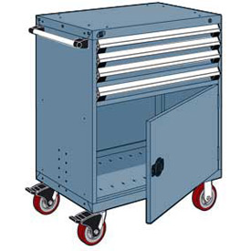 """Rousseau Metal 4 Drawer Heavy-Duty Mobile Modular Drawer Cabinet - 30""""Wx21""""Dx45-1/2""""H Everest Blue"""