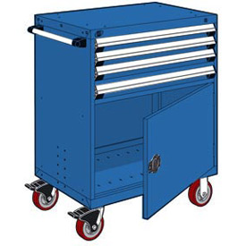 """Rousseau Metal 4 Drawer Heavy-Duty Mobile Modular Drawer Cabinet - 30""""Wx21""""Dx45-1/2""""H Avalanche Blue"""