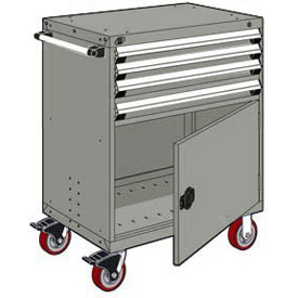 """Rousseau Metal 4 Drawer Heavy-Duty Mobile Modular Drawer Cabinet - 30""""Wx21""""Dx45-1/2""""H Light Gray"""