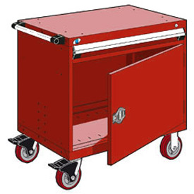 "Rousseau Metal 1 Drawer Heavy-Duty Mobile Modular Drawer Cabinet - 30""Wx27""Dx35-1/2""H Red"