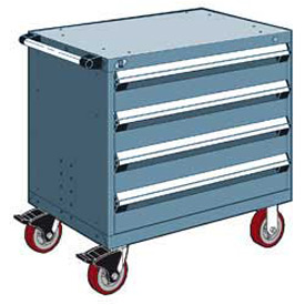 "Rousseau Metal 4 Drawer Heavy-Duty Mobile Modular Drawer Cabinet - 30""Wx27""Dx35-1/2""H Everest Blue"