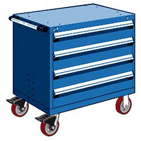 "Rousseau Metal 4 Drawer Heavy-Duty Mobile Modular Drawer Cabinet - 30""Wx27""Dx35-1/2""H Avalanche Blue"
