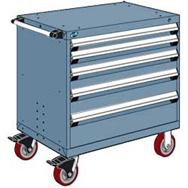 """Rousseau Metal 5 Drawer Heavy-Duty Mobile Modular Drawer Cabinet - 30""""Wx27""""Dx37-1/2""""H Everest Blue"""