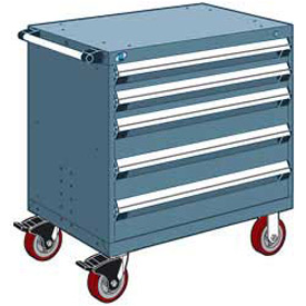 "Rousseau Metal 5 Drawer Heavy-Duty Mobile Modular Drawer Cabinet - 30""Wx27""Dx37-1/2""H Everest Blue"