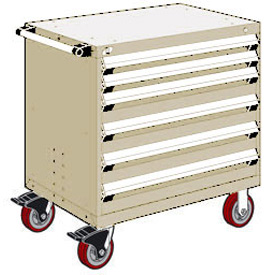 "Rousseau Metal 6 Drawer Heavy-Duty Mobile Modular Drawer Cabinet - 30""Wx27""Dx37-1/2""H Beige"