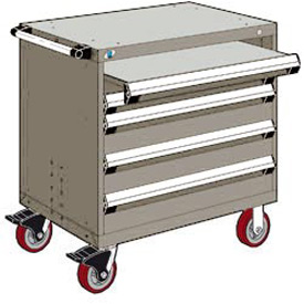 "Rousseau Metal 4 Drawer Heavy-Duty Mobile Modular Drawer Cabinet - 30""Wx27""Dx37-1/2""H Light Gray"