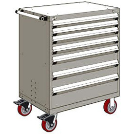 """Rousseau Metal 7 Drawer Heavy-Duty Mobile Modular Drawer Cabinet - 30""""Wx27""""Dx45-1/2""""H Light Gray"""