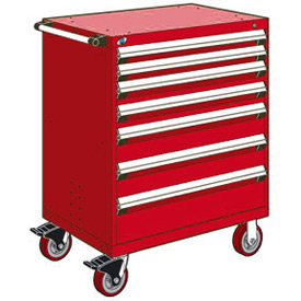 "Rousseau Metal 7 Drawer Heavy-Duty Mobile Modular Drawer Cabinet - 30""Wx27""Dx45-1/2""H Red"
