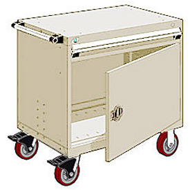 "Rousseau Metal 1 Drawer Heavy-Duty Mobile Modular Drawer Cabinet - 36""Wx18""Dx35-1/2""H Beige"