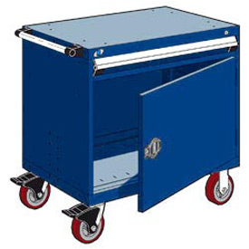 "Rousseau Metal 1 Drawer Heavy-Duty Mobile Modular Drawer Cabinet - 36""Wx18""Dx35-1/2""H Avalanche Blue"