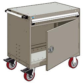"Rousseau Metal 1 Drawer Heavy-Duty Mobile Modular Drawer Cabinet - 36""Wx18""Dx35-1/2""H Light Gray"