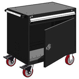 "Rousseau Metal 1 Drawer Heavy-Duty Mobile Modular Drawer Cabinet - 36""Wx18""Dx35-1/2""H Black"