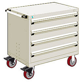 "Rousseau Metal 4 Drawer Heavy-Duty Mobile Modular Drawer Cabinet - 36""Wx18""Dx35-1/2""H Beige"