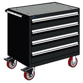 "Rousseau Metal 4 Drawer Heavy-Duty Mobile Modular Drawer Cabinet - 36""Wx18""Dx35-1/2""H Black"