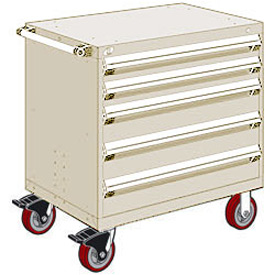 "Rousseau Metal 5 Drawer Heavy-Duty Mobile Modular Drawer Cabinet - 36""Wx18""Dx37-1/2""H Beige"