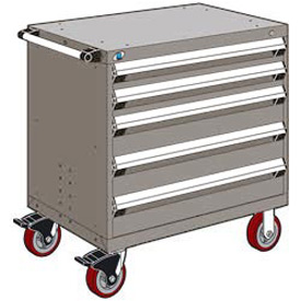 "Rousseau Metal 5 Drawer Heavy-Duty Mobile Modular Drawer Cabinet - 36""Wx18""Dx37-1/2""H Light Gray"