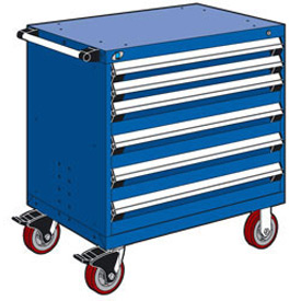 """Rousseau Metal 6 Drawer Heavy-Duty Mobile Modular Drawer Cabinet - 36""""Wx18""""Dx37-1/2""""H Avalanche Blue"""
