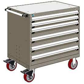 "Rousseau Metal 6 Drawer Heavy-Duty Mobile Modular Drawer Cabinet - 36""Wx18""Dx37-1/2""H Light Gray"