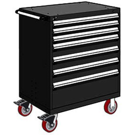 "Rousseau Metal 7 Drawer Heavy-Duty Mobile Modular Drawer Cabinet - 36""Wx18""Dx45-1/2""H Black"