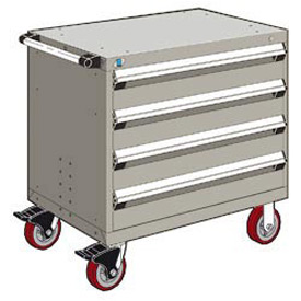 "Rousseau Metal 4 Drawer Heavy-Duty Mobile Modular Drawer Cabinet - 36""Wx24""Dx35-1/2""H Light Gray"