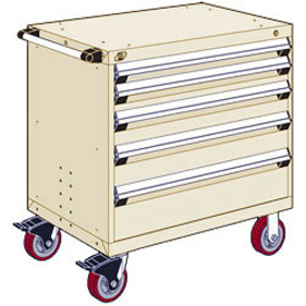 "Rousseau Metal 5 Drawer Heavy-Duty Mobile Modular Drawer Cabinet - 36""Wx24""Dx37-1/2""H Beige"