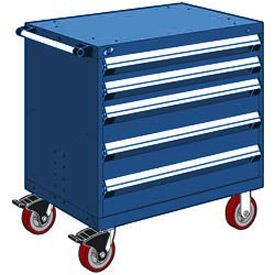 "Rousseau Metal 5 Drawer Heavy-Duty Mobile Modular Drawer Cabinet - 36""Wx24""Dx37-1/2""H Avalanche Blue"