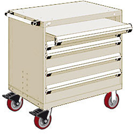 "Rousseau Metal 4 Drawer Heavy-Duty Mobile Modular Drawer Cabinet - 36""Wx24""Dx37-1/2""H Beige"