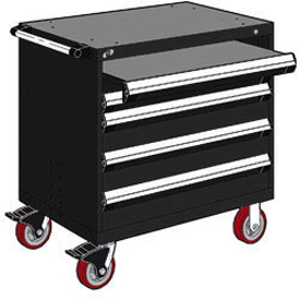 "Rousseau Metal 4 Drawer Heavy-Duty Mobile Modular Drawer Cabinet - 36""Wx24""Dx37-1/2""H Black"