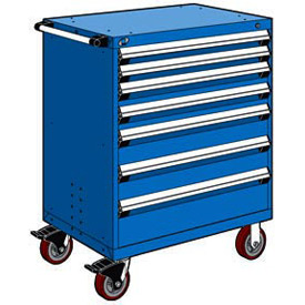 "Rousseau Metal 7 Drawer Heavy-Duty Mobile Modular Drawer Cabinet - 36""Wx24""Dx45-1/2""H Avalanche Blue"