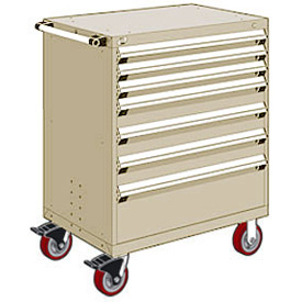 "Rousseau Metal 7 Drawer Heavy-Duty Mobile Modular Drawer Cabinet - 36""Wx24""Dx45-1/2""H Beige"