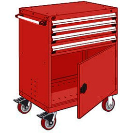 "Rousseau Metal 4 Drawer Heavy-Duty Mobile Modular Drawer Cabinet - 36""Wx24""Dx45-1/2""H Red"