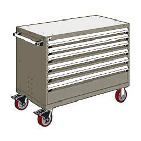 "Rousseau Metal 6 Drawer Heavy-Duty Mobile Modular Drawer Cabinet - 48""Wx24""Dx37-1/2""H Light Gray"