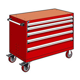 "Rousseau Metal 5 Drawer Heavy-Duty Mobile Modular Drawer Cabinet - 48""Wx24""Dx37-1/2""H Red"